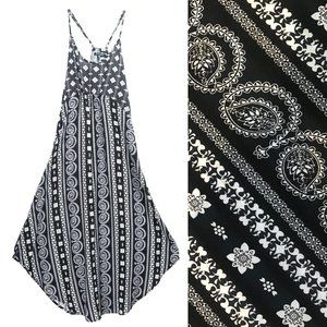 HYPE Spaghetti Strap BOHO Sundress Black White MED